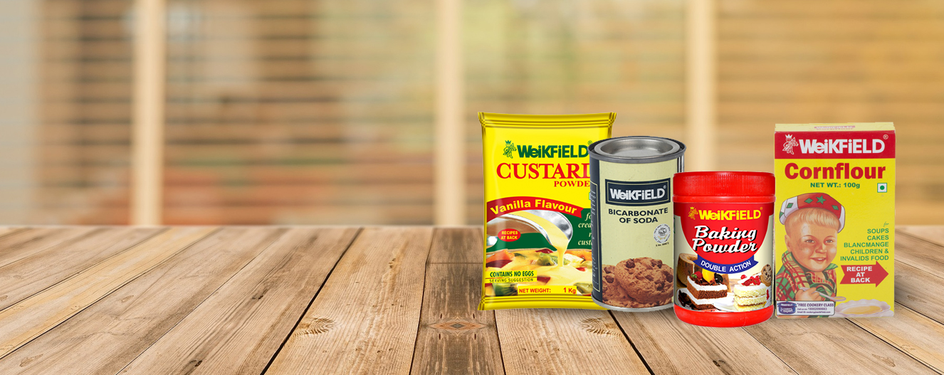 Weikfield Baking Powder, Baking Soda, Corn Flour, Custard Powder